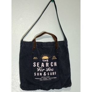 American Eagle Tote Distress Blue/Leather Handlers
